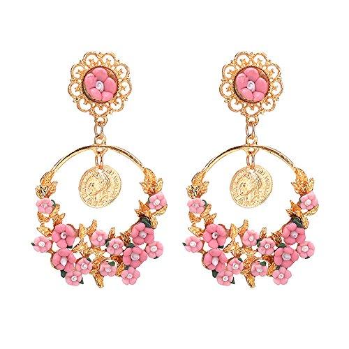 Emorias 1 Paar Ohrringe Legierung Retro Ring Korb Blume Literario Ohrringe Damen Mode Schmuck Accessoires 7.5cm*4.2cm Rosa