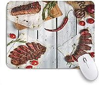 KAPANOUマウスパッド 白の上グルメグリルレストランステーキ様々な牛肉のグリル ゲーミング オフィス おしゃれ 耐久性が良い 滑り止めゴム底 ゲーミングなど適用 マウス 用ノートブックコンピュータマウスマット