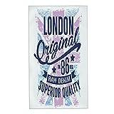 COFEIYISI Toallas de Manos Azul Gráfico Londres Retro Vintage Denim Jean College Texto Bandera Inglaterra Viejo Toalla Facial Toalla de baño pequeña Microfibra Esencial para Viajar a casa 40x70cm