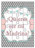 Clapper Puzzle Madrina. ¿Quieres ser mi Madrina? + cajita de Regalo para...