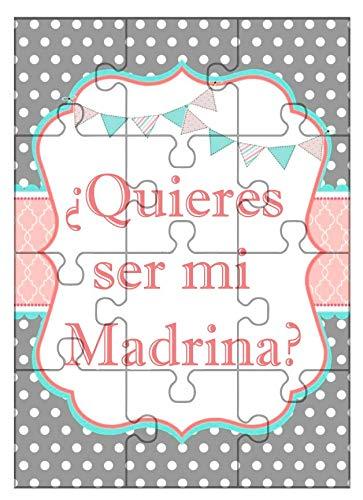 Clapper Puzzle Madrina. ¿Quieres ser mi Madrina? + cajita metálica para Guardar.Anuncio Nacimiento, Petición Madrina, Rompecabezas para Madrina.