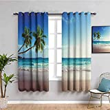 ZLYYH cortinas cocina ventan Azul cielo plantas playa WxH:117x138cm(58x138cm x2 paneles) Cortinas divisoras de habitación insonorizadas, cortinas oscurecedoras para habitación Cortinas Opacas,200% pol