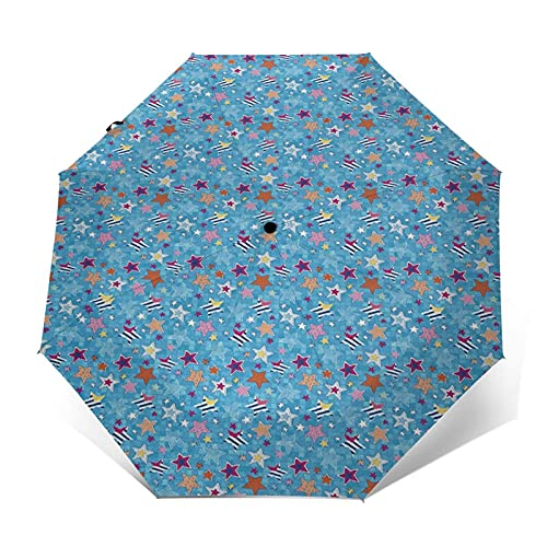 Paraguas Plegable Automático Impermeable Libro de Recuerdos de Dibujos Animados Space Heavenly Bodies, Paraguas De Viaje Compacto Prueba De Viento, Folding Umbrella, Dosel Reforzado, Mango Ergonómico