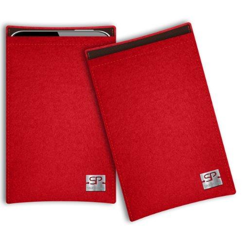SIMON PIKE Hülle Tasche kompatibel mit Samsung Galaxy Note 20 Plus (R) | Filztasche Boston in 2 rot aus Filz (echtem Wollfilz) Handyhülle