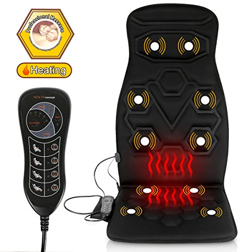 Comfitech Heated Car Seat Back Massager Cushion Chair Pad with 10 Vibrating Motors for Office, Auto...