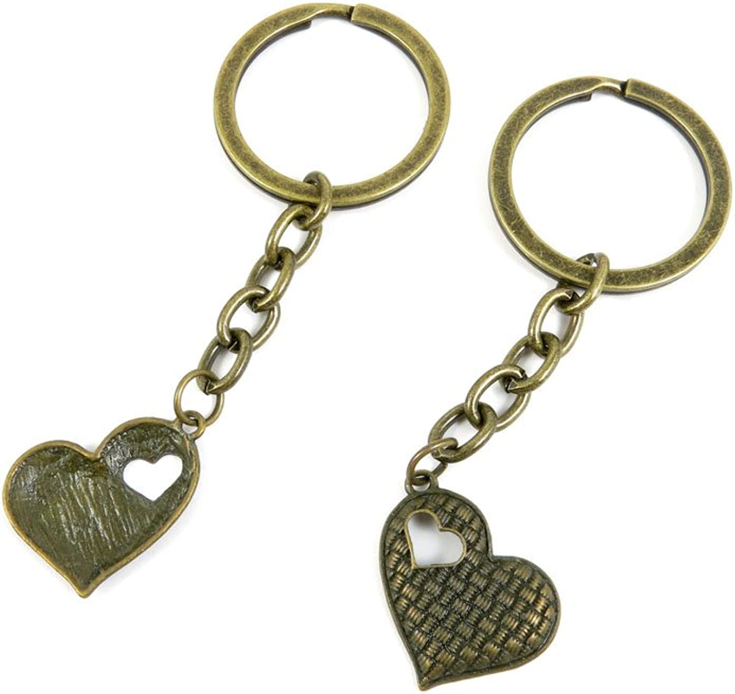 100 PCS Keyrings Keychains Key Ring Chains Tags Jewelry Findings Clasps Buckles Supplies T4XH5 Heart