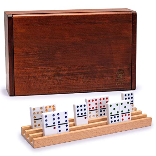 Yellow Mountain Imports, Set Domino con 91 Tessere Doppie a 12 Punti, Gioco da tavolo con Custodia in Legno e 4 Rack