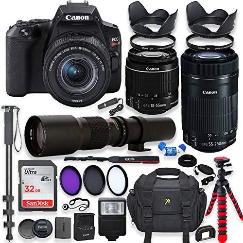 Canon EOS Rebel SL3 DSLR Camera with 18-55mm STM Lens Bundle + Canon EF-S 55-250mm f/4-5.6 is STM Lens and 500mm Preset Lens + 32GB Memory + Filters + Monopod + Spider Tripod + Professional Bundle