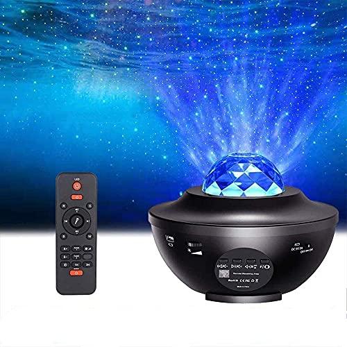 LED Sternenhimmel Projektor, Tom-shine Wasserwellen-Welleneffekt Nachtlichter,Bluetooth/Musik Lautsprecher/Timer/Fernbedienung Projektionslampe für Kinder Erwachsene Geschenke Dekoration Weihnachten