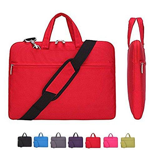 Laptop Case, Laptop Shoulder Bag, CROMI Simplicity Slim Lightweight Briefcase Commuter Bag Business Sleeve Carry Hand Bag Nylon Waterproof Notebook Shoulder Messenger Bag (Red, 15.6 inch)
