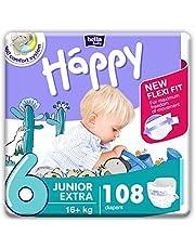 bella baby Happy Pieluchy rozmiar 6 junior Extra 16+ kg, 1 opakowanie (1 x 108 sztuk) z maksymalną ochroną i New Flexi Fit
