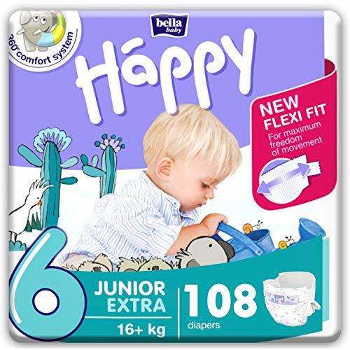 bella baby Happy Windeln Größe 6 Junior Extra 16+ kg, 1er Pack (1 x 108 Stück) mit maximalem Schutz und New Flexi Fit