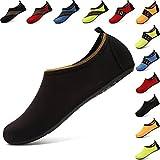 AGOLOD Hommes Femmes Chaussures d'eau Poids Léger Séchage Rapide Pieds Nus Chaussures de Plage Et Piscine Chaussons de Sport Aquatique (Soidblack, M:EU40-41)
