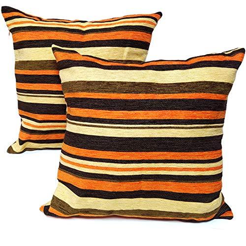 OCEANO Fundas de Cojines Decorativos,con Cremallera Invisible.Decorativa para Cama Sofa Dormitorio Hogar 45 x 45cm 2UD (Chinilla Naranja)