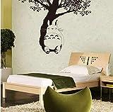 Decoración del hogar Mi vecino Totoro Tatuajes de pared Totoro debajo del árbol Vinilo Adhesivo de pared Niños Habitación Papel pintado Vinilo Totoro Mural