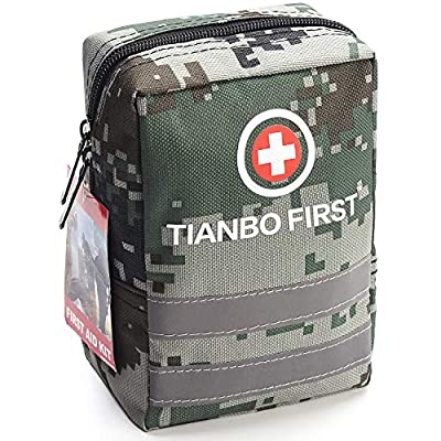 120 Pieces First Aid Kit, Tactical Trauma Kit Reflective Stripe, Great for Camping, Survival, Hiking, Rescue Camouflage