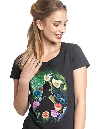 Alicia en el País de Las Maravillas Black Flower Mujer Camiseta Negro, Regular