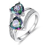 PLOT Promotionen Damen Edelstahl Ring,2018 Neu Kreativität Damenring Schmuck Dekoration Verlobungsring Engagement Herz Diamond Ring für Frauen (8, Mehrfarbig 2)