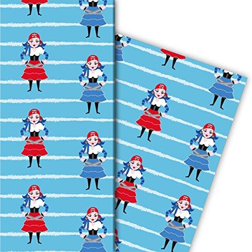Cooles Kinder Geschenkpapier Set (4 Bogen), Dekorpapier, Papier zum Einpacken mit Piraten Braut auf Streifen, hellblau, für tolle Geschenk Verpackung und Überraschungen 32 x 48cm