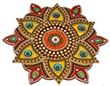 iKreation Acrylic Flower Shape Rangoli Pack (Red & Yellow_23 Cm X 23 Cm)- Set of 13