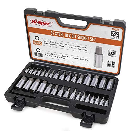 """Hi-Spec 32 Piece S2 Steel Hex Bit Socket Set. SAE & Metric Master Allen Bit Sockets of Hardened Steel with 1/4"""", 3/8"""" & 1/2"""