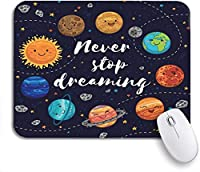 ROSECNY 可愛いマウスパッド 夢見ることを止めない素晴らしいラブリープラネットムーン宇宙船がノートパソコン、マウスマット用の滑り止めラバーバッキングマウスパッドを起動