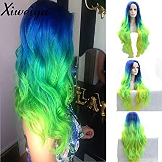 Heat Resistant Fiber Hair mermaid ombre blue green yellow color nature straight wig Synthetic lace front wig for women