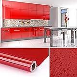KINLO 5 * 0.61M Papier Peint Auto-Adhésif Rouge Armoire de Cuisine en PVC...