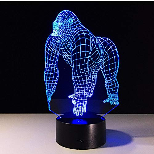 Bedside Table Lamps Gorilla Led Lamp 7 Color Night Lamps for Kids Touch Led USB Table Lamp Baby Sleeping Nightlight 3D Hologram Lamp Touch Switch Indoor Lighting