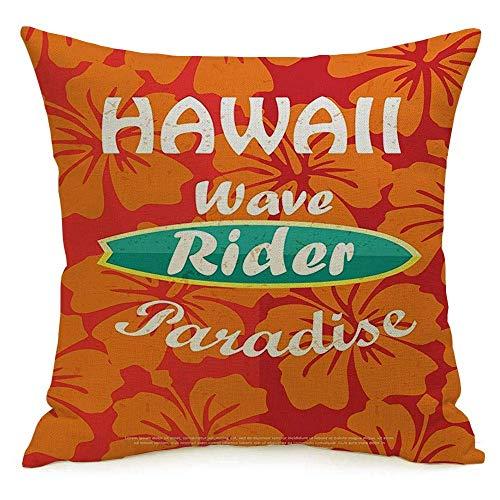 Lino Decorativo Cuadrado Throw Pillow Cover Case Paradise Retro Surfing Tipográfico Tablero de Lugar Texto Hawaiano Cartel Deportivo Recreación Tabla de Surf Funda de Almohada Cojín Funda para sofá