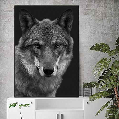 Schwarzweiss-Giraffenzebratierplakat und drucken Leinwandkunstmalerei Wandkunst Wolfsbild rahmenlose dekorative Malerei für Wohnzimmer modernes Zuhause 70x100cm 70x100cm