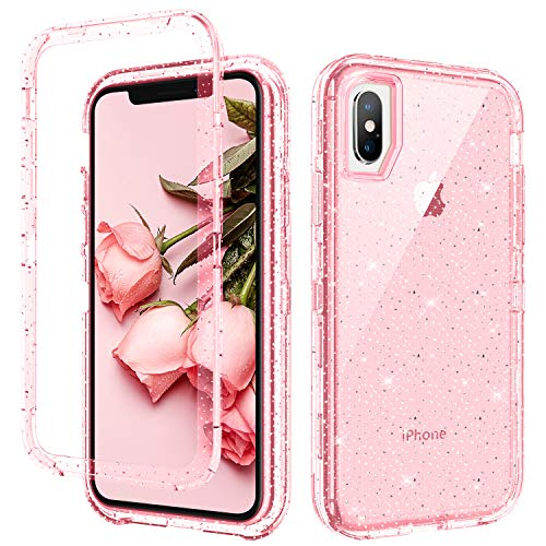 GUAGUA iPhone Xs Case iPhone X Case 5.8-inch Pink Glitter Bling Crystal Clear Shiny Cover for Girls Women Hybrid 3 in 1 Hard PC Soft TPU Bumper Shockproof Protective Case for iPhone Xs/X 2018 Pink
