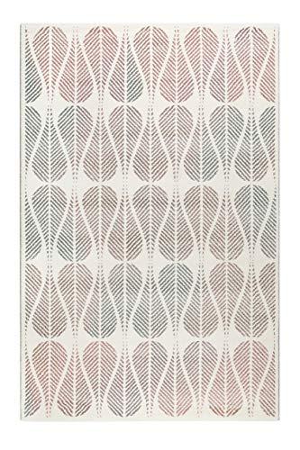Teppich Rosa Türkis Creme-Beige Kurzflor für Wohnzimmer Schlafzimmer Flur Esprit Home ZENO (133 x 200 cm)