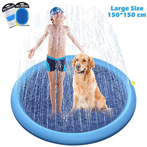 O'woda 150 * 150cm Hunde Planschbecken, Hundeplanschbecken mit Ablassventil,Faltbarer Haustier-Duschbecken,PVC-rutschfest Schwimmbecken Hundebadewanne Für Hunde und Katzen