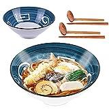 Whitejianpeak 2 cuencos japoneses de cerámica, grandes cuencos de sopa con palillos y cuchara, 1000 ml, ensaladera Udon para cereales, pasta, Soba, Phoo, pasta asiática