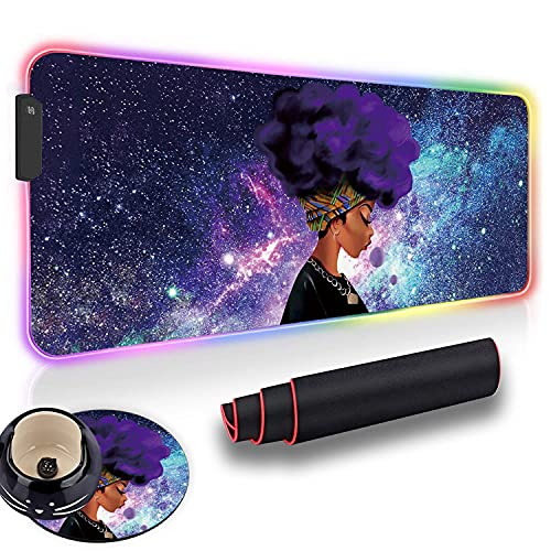 Gaming Mouse Pad and Cute Coaster, African Girl with Purple Hair Galaxy Soft Oversized Glowing Extended LED Mousepad, Anti-Slip Rubber Base Computer Keyboard Mouse Mat. 31.5 x 12 Inch