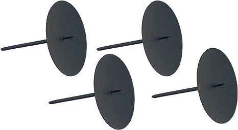 ARTECSIS 4 Kerzenhalter Adventskranz Teelichthalter 6,5cm schwarz Kerzenteller zum Stecken Deko/…
