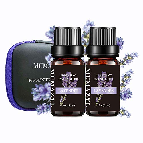 Lavender Essential Oil Set Organic Plant Natural 100% Pure Therapeutic Lavender Oil for Diffuser,Cleaning,Home,Bedroom,SPA,Massage,Aromatherapy,Perfumes,Humidifier,Skin,Soap,Candles 2 Pack 10ml
