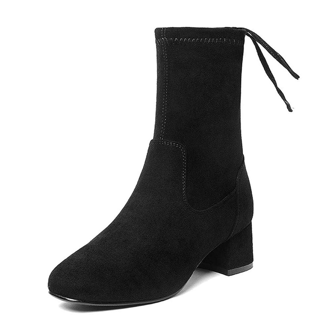 オプショナル空白損なうHWF レディースシューズ 冬レディースブーツ厚いかかとハイトップシューズマーティンブーツ、女性レジャーブーツレトロ、ブラック、ヒールの高さ5cm (色 : 黒, サイズ さいず : 35)