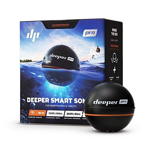Deeper Sonar Wi-Fi Fishfinder Pro, Ecoscandaglio Portatile per Smartphone Iphone/Android E Tablet Ipad/Android - Rilevazione Profondità Fino a 80 Metri, Nero