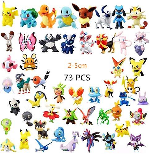 Hyde Pokémon Pearl Minifiguren Set 73 Stück, 72 Stück Pokemon Mini Action Figuren und 1 Stück 3D Pokémon Schlüsselanhänger für Kinder und Erwachsene, 72 zufällig, Nicht wiederholen.