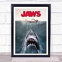 ぶら下げ絵画-ジョーズStyleKeyアート映画のテーマポスター - サイズ:33x43cm(額縁を送る)