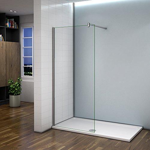 Paroi de douche 60x200cm verre anticalcaire cabine de douche à l'italienne avec barre de fixation 140 cm