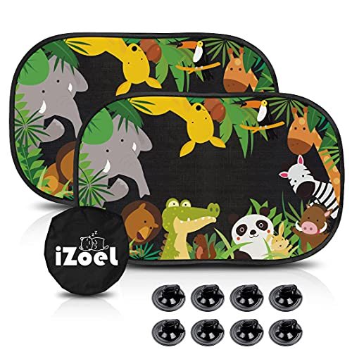 MOVINPE Car Sun Shade for Baby Kids 2 Pack Static Cling Side Window Car 80GSM Rear Sunshades Universal with 8 Suction Cups and Storage Bag - Jungle Animals Sun Glare and UV Rays Protection