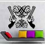 Pistola Extraíble Pegatinas De Pared Vinilo Calcomanía Revólver Armas Habitación Calcomanía Arte Vinilo Adhesivo De Pared Papeles 57 * 75Cm