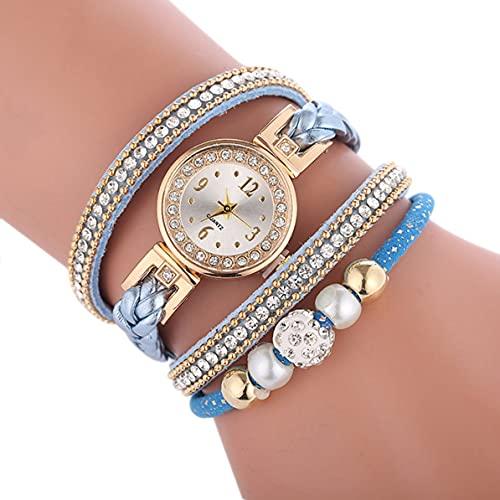 SENZHILINLIGHT Wickelarmbanduhr Damenuhr Koreanische Freizeituhr Schmuck Dekoration Diamantbesetztes rundes kleines Zifferblatt