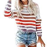 LILIHOT Frauen O-Ansatz Pullover Gestreifte Farben Block Strickjacke Strickwaren Patchwork Pullover Oberseiten Damen Langarmshirt Sweatshirt Elegant Langarm Strickjacke