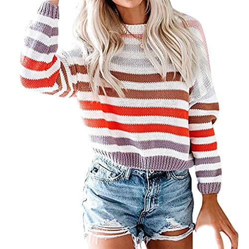 LILIGOD Damen Gestreifte Farben Block Sweatshirt Mode O-Ausschnitt Stricken Sweater Beiläufige Wild...