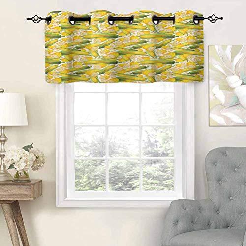 Hiiiman - Cortinas pequeñas para ventana de cocina, cenefas orgánicas, ilustración realista, tallos amarillos de maíz, agricultura, juego de 1, 52 x 18 pulgadas para ventana de cocina, baño y café