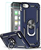 iPod Touch 7 Case, iPod Touch 6 Case, iPod Touch 5 Case with [2Pack] Tempered Glass Screen Protector, LeYi Military-Grade Phone Case with Car Mount Kickstand for Apple iPod Touch 7th/6th/5th Gen, Blue